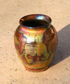 Raku Vase  hand thrown pottery stoneware by muddywaterscc on Etsy, $45.00 #etsy #stoneware