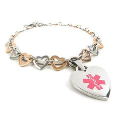 MyIDDr Custom Engraved Medical Bracelet  316L Stainless Steel Rose Gold Tone Hearts.More info for rose gold bracelet;bracelet design;gold and silver bracelets;sterling silver bracelets;white gold bracelets for women could be found at the image url.(This is an Amazon affiliate link and I receive a commission for the sales)