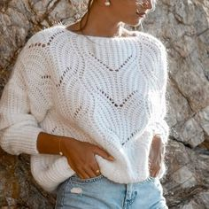 Diy Crafts - casual round neck loose white Hollow Out sweater Mohair Sweater, Loose Sweater, Long Sleeve Sweater, Cozy Sweaters, Cable Knit Sweaters, Casual Tops, Casual Shirt, One Piece Swimwear, Cardigans For Women