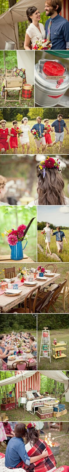 Wedding Party (and much more) - I love the relaxed nature of this shot. I definitely want the bridesmaids eclectic and everyone comfortable. We might adjust the color scheme though. I am thinking khakis for the men.  I also love all the vintage campy ideas and the flowers.