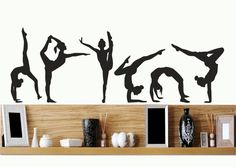 Gymnastics Girls Silhouettes Set of Six / wall art vinyl decal stickers.