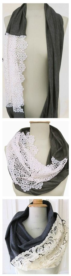 i think i'm gonna consider stopping my knit lily of the valley lace scarf and just sew it to some pretty fabric. hmm #DIY #scarf created with a piece of fabric and lace.