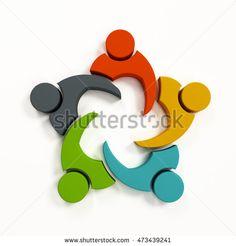 Teamwork Collaboration Logo. 3D Rendering illustration