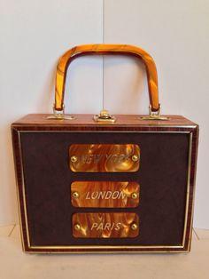 Vtg 60s Wooden Box Purse Tortoise Lucite Handle Plaques New York London Paris