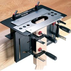 Mortising & ten non jig for plunge router. At $399 I think I can build a tennon jig for my table saw and cut mortises on the router table. But angled joints.... might be the thing for that: