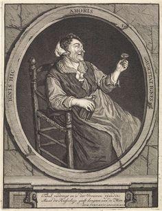 Matthijs Pool | Boerin met een roemer, Matthijs Pool, Cornelis Dusart, 1696 - 1727 | Een boerin zit op een stoel. In haar handen houdt ze een roemer en een fles drank. In het kader onder de voorstelling een spotgedicht.