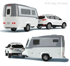 """This new stylish compact travel trailer is the brainchild of Robert Johans. After years of experience with both RV designing and camping, he was inspired to create the Nest caravan, a 17' long and 6'8"""" wide, 2000 lb. light-weight, easy to maneuver, monocoque chassis trailer.   If It's Hip, It's Here: Good Design For The Great Outdoors: Nest Caravans"""