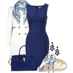 A fashion look from March 2013 featuring short sleeve cocktail dresses, cotton coat en blue platform pumps. Browse and shop related looks. Komplette Outfits, Classy Outfits, Beautiful Outfits, Casual Outfits, Fashion Outfits, Womens Fashion, Fashion Trends, Fashion 2017, Latest Fashion