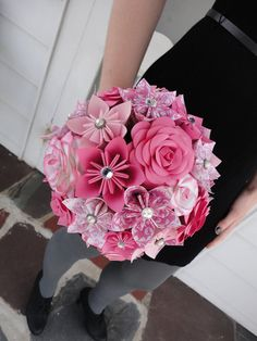 Large Rose Paper Flower Bridal Bouquet Wedding - Kusudama Origami Paper Rose Pink. $130.00, via Etsy.