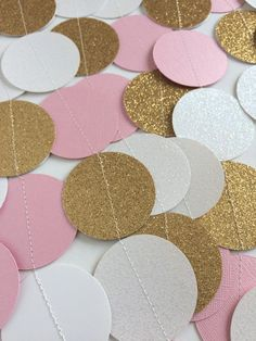 Ready to Ship Paper Garland  Pink Gold and White by TopperAndTwine