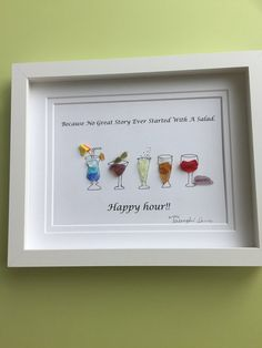 """""""Happy hour """" unique colourful seaglass art is framed by me in white shadow box as shown.Sure to kick off every evening with loads of fun having these full glasses around. Arts And Crafts Beer Parlor Refferal: 1089590277 Sea Glass Crafts, Sea Glass Art, Shell Crafts, Stained Glass Art, Fused Glass, Glass Art Pictures, Pebble Pictures, White Shadow Box, Happy Hour"""