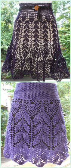 Crochet Leaf Skirt Free Pattern- Crochet Women Skirt Free Patterns