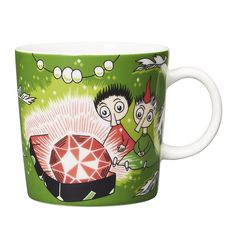 "Thingumy and Bob and the King's Ruby. It's beautifully illustrated by Arabia artist Tove Slotte and the illustration can be seen in the original book ""Finn Family Moomintroll"" by Tove Jansson. Moomin Books, Moomin Mugs, Tove Jansson, Moomin Shop, Bob, Hobgoblin, Porcelain Mugs, Mug Cup, Marimekko"