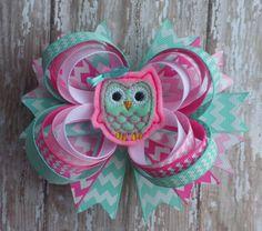 OWL feltie BIG hair bow headband Aqua Pink by CicisBowBoutique
