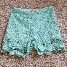 Charlotte Russe Pants - Mint green crochet shorts