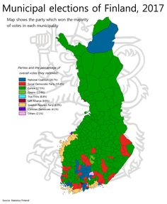 Results of the 2017 Finnish municipal elections. [[MORE]]by meatstewbox Brief introduction to the parties: -National Coalition Party, NCP (Kokoomus), 20.7% – right-wing, socially liberal/conservative depending on candidate -Social Democratic Party,...