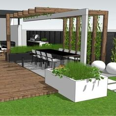 The wooden pergola is a good solution to add beauty to your garden. If you are not ready to spend thousands of dollars for building a cozy pergola then you may devise new strategies of trying out something different so that you can re Patio Roof, Backyard Patio, Backyard Landscaping, Modern Landscaping, Modern Garden Design, Landscape Design, Modern Pergola Designs, Gazebos, Outdoor Pergola
