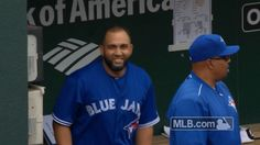 New party member! Tags: baseball mlb excited excitement toronto blue jays blue jays dugout morales antsy kendrys morales