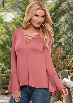 Be a bell sleeve beauty. Venus strappy bell sleeve top.