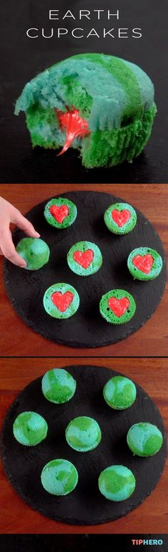 Earth Cupcakes Recipe | Here's a colorful little treat for kids of all ages. Perfect for picnics, parties or an Earth Day celebration. A special treat popped in the center add some extra fun and extra sweet. Click for the video and recipe.  #sweettreats #desserts #earthday