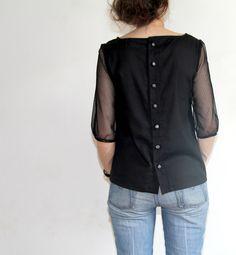 Sheer sleeved black Mathilde by Julie - the back