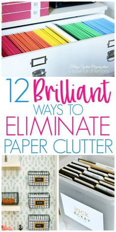 Brilliant Ways To Organize Paperwork and Paper Clutter – Home Office Design Diy Organizing Paperwork, Clutter Organization, Home Office Organization, Organization Ideas, Organizing Paper Clutter, Organizing Ideas For Office, Organizing Documents, Food Pantry Organizing, Organizing Tools