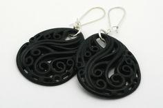 Black Resin Earrings, Swirled Scroll Design, Lightweight, Eco-Resin, Silver or Gold Plated Kidney Ear Wires, Dangle Earring, Teardrop Shape - pinned by pin4etsy.com
