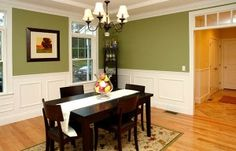Dining room. Cute colors, chair rail and wainescoat