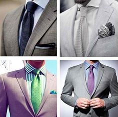 Light grey suit with different shirt-n-tie combinations.