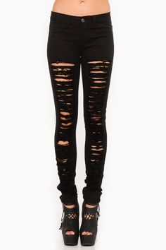 Black Solid Shredded Jeggings @ Cicihot Pants Online Store: sexy pants,sexy club wear,women's leather pants, hot pants,tight pants,sweat pan...