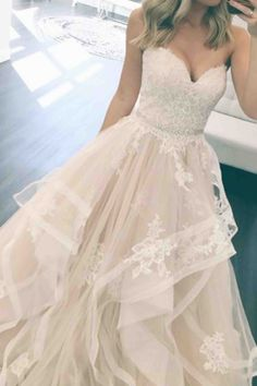 White lace tulle prom dress, sweetheart prom dress, ball gown 2017