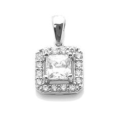 14K White Gold Princess Cut Cubic Zirconia Halo Setting Vintage Pendant for Necklace -- Learn more by visiting the image link.