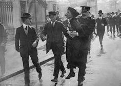 Protest: English suffragette Emmeline Pankhurst (1858 - 1928), is arrested at a demonstration