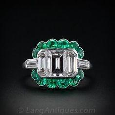 Fine Art Deco Emerald Cut Diamond Diamond and Emerald Ring