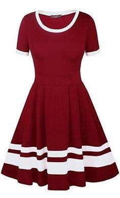 ffd86d853f Burgundy White Vintage Striped A-Line Skater Dress. Divas Fashions