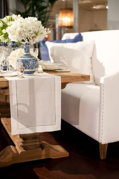 La Tavola Fine Linen Rental: Hemstitch White Table Runner
