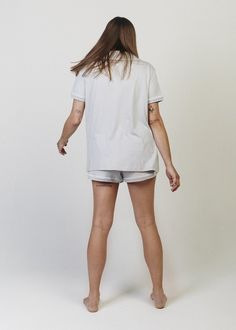 Sophie Short Sleeve Button-Down Pajama Shirt. Fancy enough for the couch. A comfortably oversized button down pyjama top with a collar and open neckline. Pajama Shirt, Pajama Top, White Dress, Pajamas, Neckline, Fancy, Couch, Button, Sleeve