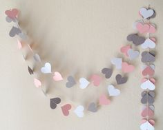 Valentines day decor Pink Gray White Paper Heart Garland Wedding garland Baby shower decor nursery decor Engagement party bachelorette party - Decoration Wedding and Home Anniversaire Hello Kitty, Baby Girl Nursery Pink And Grey, Paper Heart Garland, Paper Garlands, White Garland, Engagement Decorations, Gris Rose, Garland Wedding, Valentine Decorations