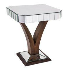 Quartz Walnut Mirrored Side Table