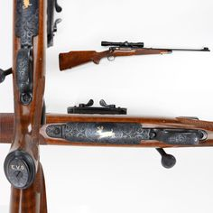 "Winchester Model 70 Rifle - Visitors regularly ask if the National Firearms Museum has any Elvis Presley guns on display. Sadly, we don't but our GOTD is one piece that still might get you ""all shook up."" This .270 Winchester Model 70 rifle has a finely figured walnut stock and excellent gold inlay engraving. The gold initials on the pistol grip cap almost spell out Elvis, too. The Lyman scope is fitted in a Griffin & Howe side-mount base. NRA Museum in Fairfax, VA"