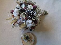 Rustic winter alternative wedding bridal bouquet with white