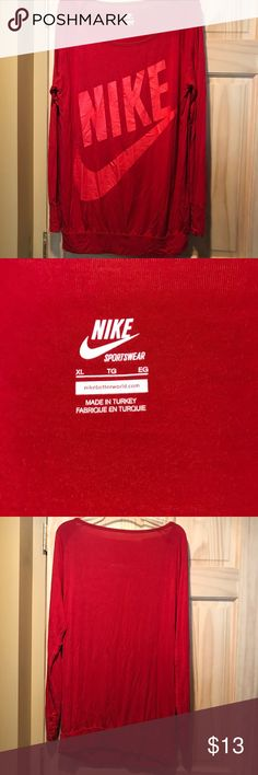 Long sleeve Nike shirt Nike long sleeve shirt- size L. Amazing material, soft and strong. Very stretchy, it's supposed to be an oversized shirt. No visible flaws! Wrinkles very easily Nike Tops Tees - Long Sleeve
