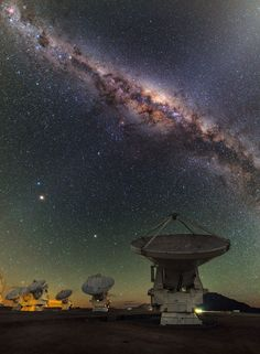 astronomicalwonders:  ALMA under the MilkyWay This view shows several of the ALMA antennas and the central regions of the Milky Way above. In this wide field view, the zodiacal light is seen upper leftand at lower left Mars is seen. Saturn is a bit higher in the sky towards the centre of the image. Credit: ESO/B. Tafreshi (twanight.org)