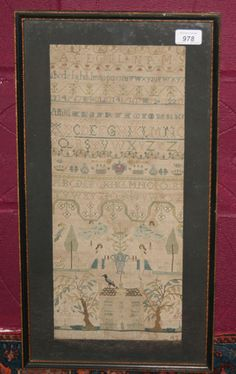 George II needlework sampler depicting angels upon clouds, figures, swans, country house and foliage with rows of alphabet and numbers by Ann Peed in the ten year of her age 1743.
