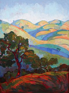 Paso Robles Painting - Faded Hills by Erin Hanson