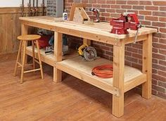 A basic, stable workbench is a must for every shop. Building this bench won't break the bank, either. A basic, stable workbench is a must for every shop. Building this bench won't break the bank, either. Woodworking Bench Plans, Easy Woodworking Projects, Wood Projects, Woodworking Furniture, Youtube Woodworking, Woodworking Basics, Woodworking Apron, Woodworking Machinery, Woodworking Plans
