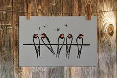 Linocut Print Swallows Print Bird Print Bird linocut Home Lino Art, Woodcut Art, Linocut Prints, Bird Painting Acrylic, Drypoint Etching, Linoprint, Bird Illustration, Illustrations, Bird Drawings