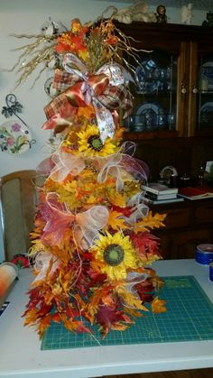 My tomato cage fall topiary tree by Phyllis Fall Topiaries, Topiary Trees, Tomato Cages, Fall Crafts, Fall Decor, Xmas Trees, Wreaths, Holidays, Home Decor