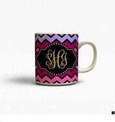 Chevron coffee mug Purple Maroon Hot pink Monogram by TGTLdecals Monogram Cups, Monogram Coffee Mug, Chevron Monogram, Personalized Coffee Mugs, Chocolate Covered Coffee Beans, Best Travel Coffee Mug, Coffee Coupons, Stainless Steel Coffee Mugs, Tween Gifts