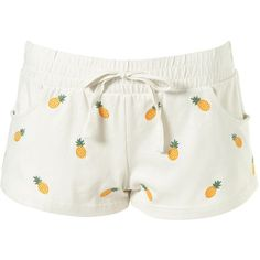Pineapple Jersey Hotpants ($24) ❤ liked on Polyvore featuring shorts, bottoms, pajamas, pijama, women, white jersey and cotton jersey